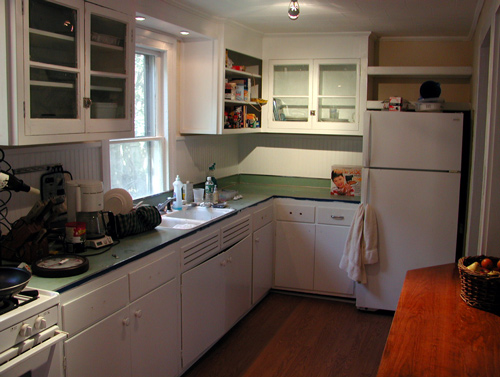 Linoleum Kitchen Countertops : Kitchen counter is funky green linoleum with metal trim. Theres a lot ...